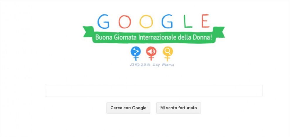Il doodle che Google ha pubblicato per celebrare la Festa della Donna