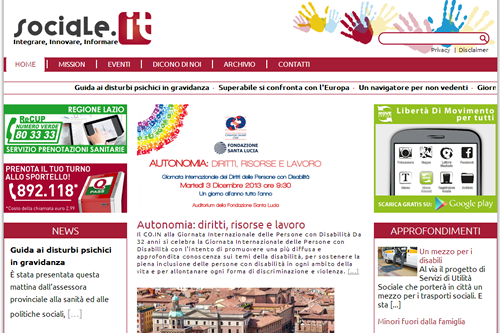 La home page del nuovo sociale.it