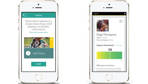 Le schermate dell'app i-phone Cognoa per la valutazione del rischio autismo e ritardo cognitivo nei bambini