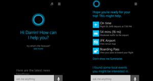 Due immagini di Cortana in azione