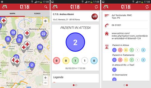 Alcune schermate dell'app E.R. Map