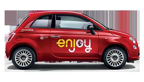 Le Fiat 500con il logo enjoy che presto circoleranno a Roma