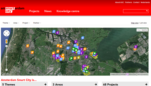 La home page del progetto Amsterdam Smart city: le città vanno ripensate in una visone tecnologicamente sostenibile