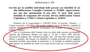 La delibera del Comune di Roma con evidenziato il passo-chiave della Convenzione ONU