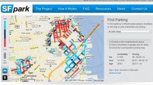 Le informazioni sui parcheggi di San Francisco visualizzate in tempo reale sul sito www.sfpark.org