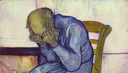 """La depressione colpisce soprattutto le persone agiate: nell'immagine particolare del quadro """"Sulla soglia dell'eternità"""" di Vincent Van Gogh (1890), l'artista olandese soffriva con ogni probabilità di sindrome bipolare"""
