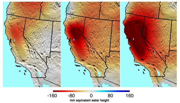 Dai dati della missione Grace, l'evoluzione negli ultimi tre anni della siccità in California