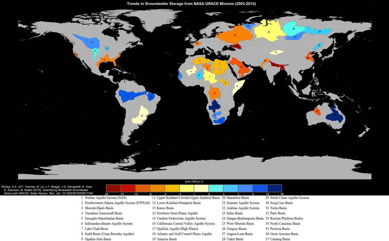 Nella mappa ricavata attraverso i dati della Missione NASA Grace che illustra le condizioni delle principali falde acquifere mondiali