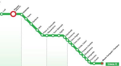 L'attuale percorso della metro C, da Piazza Lodi a Montecompatri