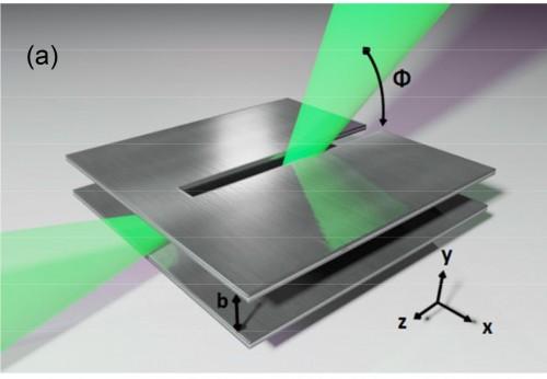 Le due piastre di un'antenna di tipo leaky wave, in grado di separare – un po' come fa un prisma con la luce – le frequenze fino al terahertz. Credits: Mittleman Lab / Brown University