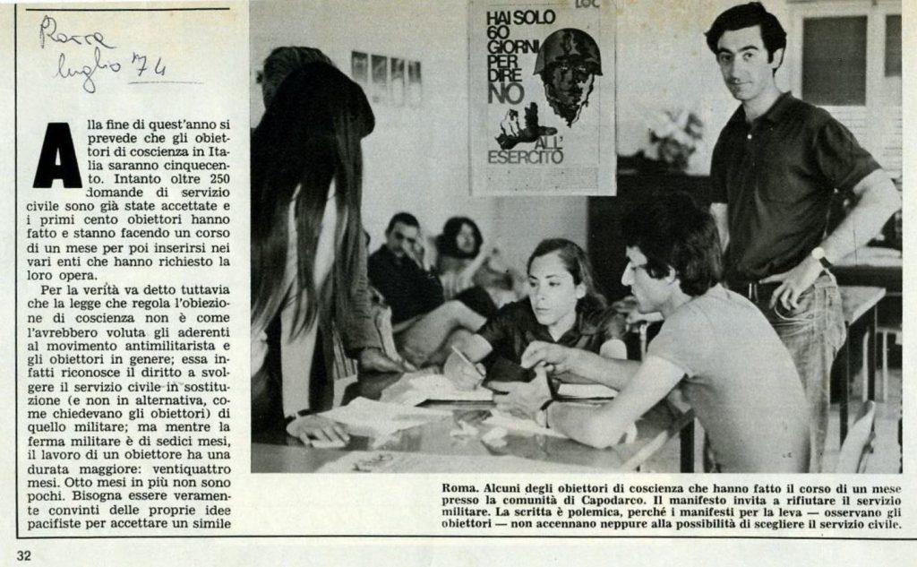 Un'immagine della Comunità di Capodarco di Roma, tra le prime realtà ad accogliere obiettori di coscienza in Italia, da cui nacque nel 1975 la Cooperativa Capodarco