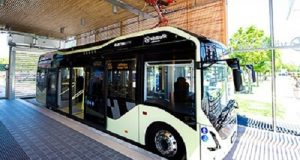 L'autobus 55 di Göteborg all'interno del terminale di partenza