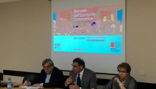 La presentazione della biennale dell'economia cooperativa, un evento pensato per i 130 anni di Legacoop, che si terrà a Bologna dal 7 al 9 ottobre