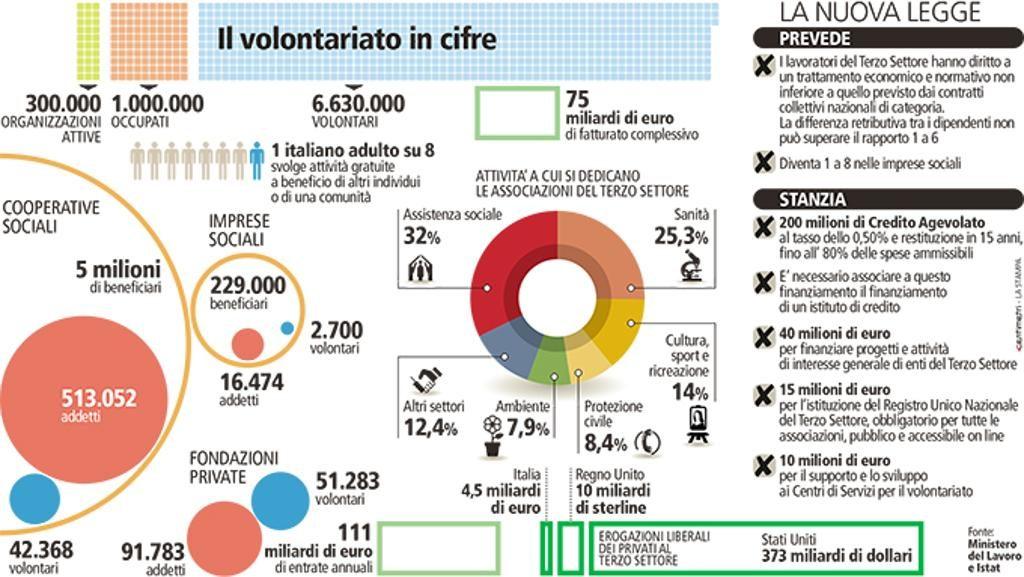 Infografica, il valore del Terzo settore per il Paese (Fonte Ministero del Lavoro Istat)